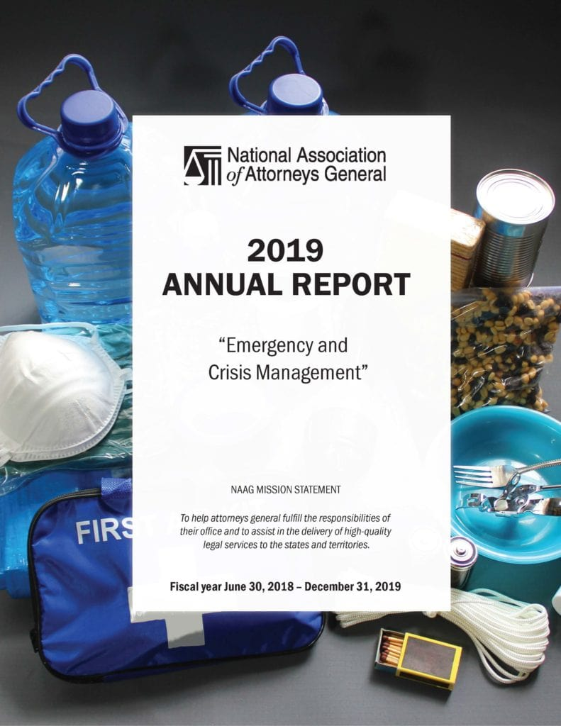 2019 annual report cover with disaster supplies